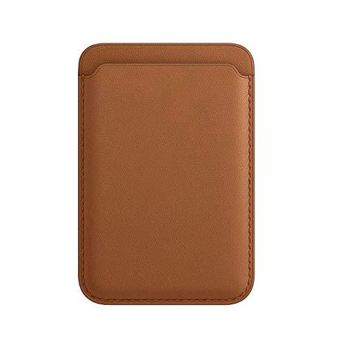Porta carte di credito in pelle, adatto per iPhone 12 Mini/Pro/MAX, con magnete mag-Safe e design RFID, ultra sottile e portatile (marrone caramello)