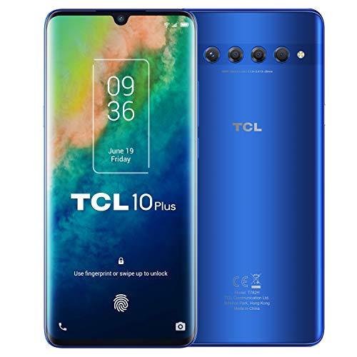"TCL 10 Plus - Smartphone de 6.47"" AMOLED FHD+ con NXTVISION (Qualcomm 665 4G, 6GB/256GB Ampliable MicroSD, Dual SIM, Cámaras 48MP+8MP+2MP+2MP, Batería 4500mAh, Android 10 actualizable) Azul"