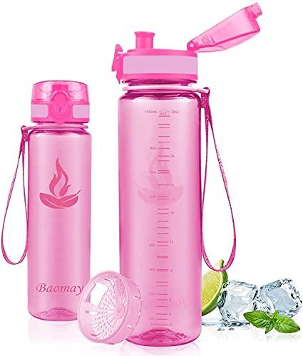Baomay Borraccia Sportiva Bottiglia d'Acqua in Plastica con Filtro - 750ml Borracce per Bambini, Bici, Scuola Zaino, Palestra Sport   Tritan Senza-BPA & Prova di Perdite (Pink)