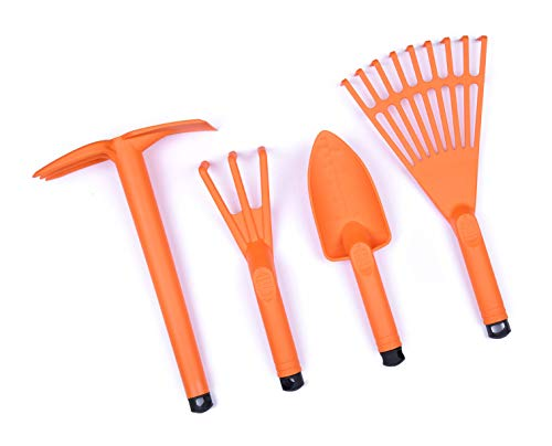 Mintra Home Gardening Tool Set – (Orange) 4 Pack Cultivator, Trowel, Shovel, Claw, Rake, Ideal for Planting Flowers, Gardening, Plants, Durable, Indoor, Outdoor, Patio, Lawn and Garden