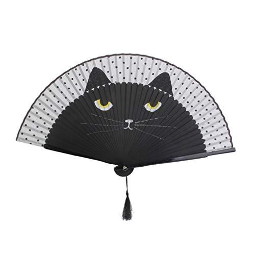 Healifty abanico plegable de seda negro de dibujos animados lindo gato bambú ventilador plegable de mano para niños hombres mujeres decoraciones Festival regalo