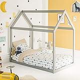 Alfred & Compagnie - Cama cabaña extensible (90 x 140 cm), color gris