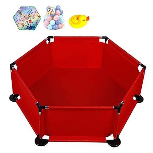 Box Play-Yards Indoor, Große Kinder Activity Center, Hexagonal Pen Oxford Maschendrahtzaun Sicherheits Spiel Zaun Kind Blau (Farbe: rot) ZHNGHENG (Color : Red)