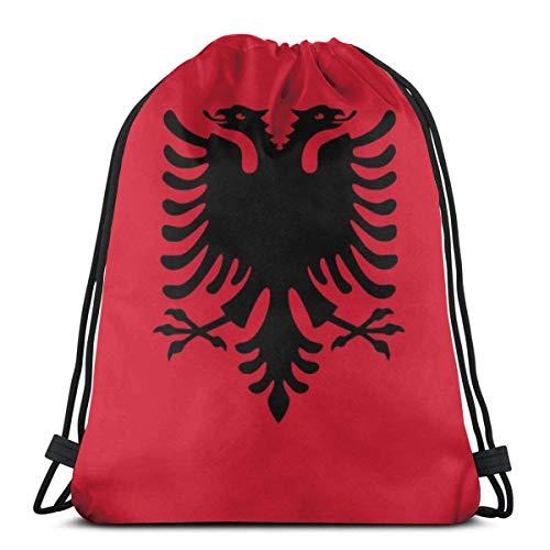 N / A Sport Tanz Tasche,Tunnelzug Gymsack,Unisex Drawstring Backpack,Tasche Gymsack Tasche,Trainer-Tasche,Hipster Rucksack Pe,Gym Sack,Albanische Flagge Drawstring Bag