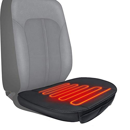 Sojoy Premium PU Leather Car Seat Cushion Edge Wrapping Warm Cushion for Winter, Bottom Protectors Pad with Small Pocket (Black) 20x20