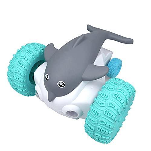 CHENBAI Coche de acrobacias con delfines de 2.4G, con luz y música, mini carro electrónico con control remoto para delfines, pez diablo bailarín con luz LED, carro giratorio para acrobacias, regalo de