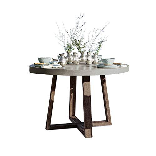 Loberon Loberon Tisch Huntingdon, Steingemisch/Akazienholz, H/Ø ca. 76/120 cm, grau