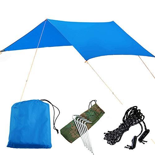 Gmjay Refugio al Aire Libre Lona Ultraligera Camping Supervivencia Sol Refugio Multifuncional Impermeable Playa Toldo Estera de Playa Refugio de Lluvia,Blue
