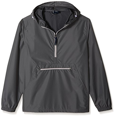 Charles River Apparel Pack-N-Go Wind & Water-Resistant Pullover (Reg/Ext Sizes), Grey, L