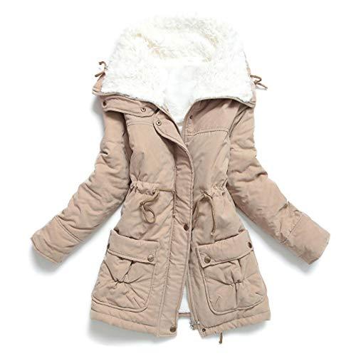 Liran Women's Winter Warm Wool Cotton-Padded Coat Parka Long Outwear Jacket US Medium Khaki