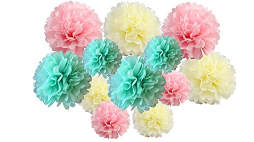 pack of 12 Pack Mixed Tissue Paper Pompom Pom Pom Hanging Garland Wedding Party Decorations (Pink Shade 2, mix 8' & 10' (20 cm & 25 cm))