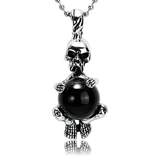 AnazoZ Collier Acier Inoxydable Collier Homme Argent Noir Gothique Crâne Squelette Bead Colliers Argent Ancien Pendentif 4.2x1.5CM