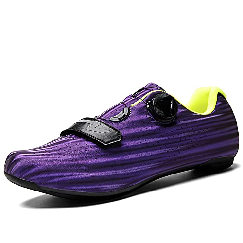 Zapatillas de Ciclismo Antideslizantes, Zapatillas de Bicicleta de Carretera y Montaña de Fibra de Carbono Transpirables, Zapatillas Deportivas Asistidas con Tiras Reflectantes(Size:44,Color:púrpura)