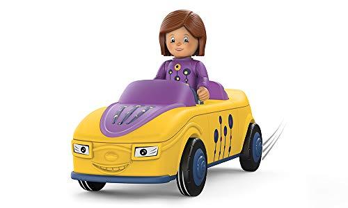 Toddys by siku 0104, Zoe Zoomy, 3-teiliges Spielzeugauto, Zusammensteckbar, Inkl. beweglicher Spielfigur, Hochwertiger Schwungradmotor, Gelb/Lila, Ab 18 Monaten