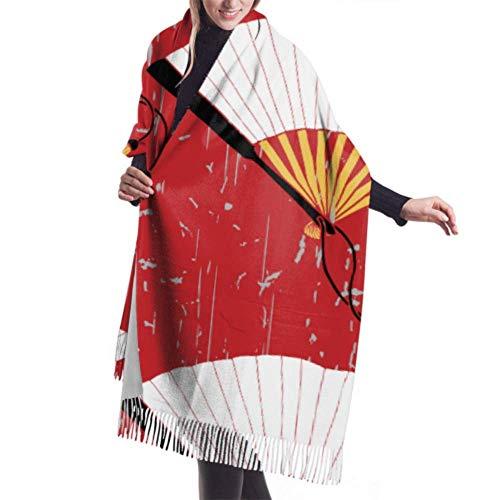 Hdadwy Bufanda de invierno unisex con tacto de cachemira clásica, patrón de abanico de encaje,...