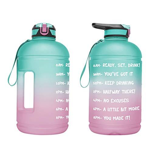 Edcqaz SPORT Water Bottle 1 Galón Portátil Con Paja Y Marcador De Tiempo Para Deporte, Fitness, Camping, Bicicleta, Al Aire Libre