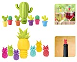 ASFINS Tappi per Bottiglie Segnabicchieri, 2 pezzi Tappi per Bottiglie di Vino e 12 pezzi ...