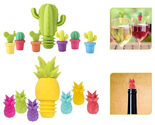 ASFINS Tapones de Vino Marcador de Copa de Silicona, 2 Piezas Tapones de Botellas con 12 Piezas Marcadores de Copas de Vino para Banquete de Fiesta, Estilo Cactus y Piña