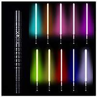 フォースFXライトセーバー11色RGBライトセーバー、ジェダイシスヘビーデュエルLEDライトセーバー、メタルアルミニウムヒルト、USB充電フォースライトセーバーグローイングサウンド,黒,39.37in