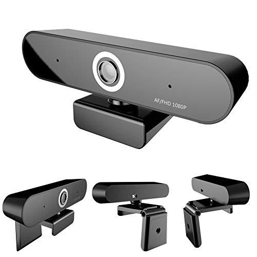 Webcam Full HD 2 milioni di pixel, supporto 1080P Auto Focus Camera Dual Microfono incorporato Clip-on PC Camera Rotante a 360 ° per computer portatil
