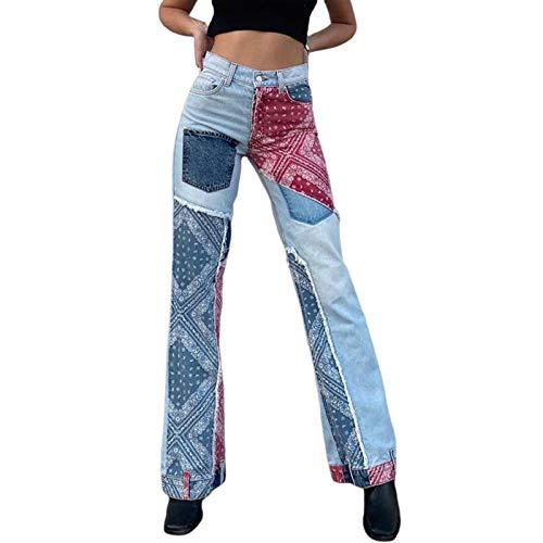 Pantalones vaqueros sueltos con estampado de retales para mujer, pantalones casuales de cintura alta, pantalones vaqueros holgados rectos holgados de mezclilla sueltos Y2K, ropa de calle (Blue , M )