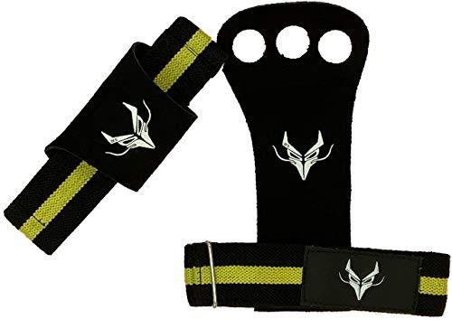Dracones heren handbescherming van zwart leer met armband van nylon in zwart met gele banden, handgrepen of handgrepen voor Ginnastica, Calisthenics, Crossfit, Powerlifting en Strongman