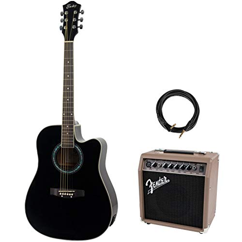 Fazley FE118CBK Electro-Acoustic Steel-String Guitar + Amplifier and Cable