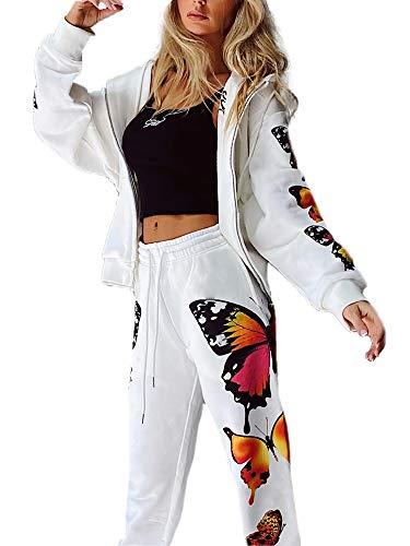 Conjunto de mujer deportivo con diseño de mariposa, informal, con capucha, bolsillos y pantalones largos, elásticos, de manga larga, tallas grandes, Color blanco., M