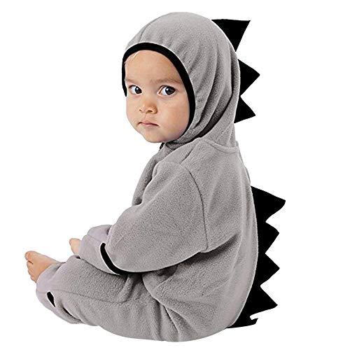MRULIC Neugeborenes Baby Jumpsuit Outfit Dinosaurier Reißverschluss mit Kapuze Spielanzug Overall Outfit Kleidung Niedlicher Babyschlafsack Onesies Herbst und Wintermodelle(A-Grau,65-70CM)