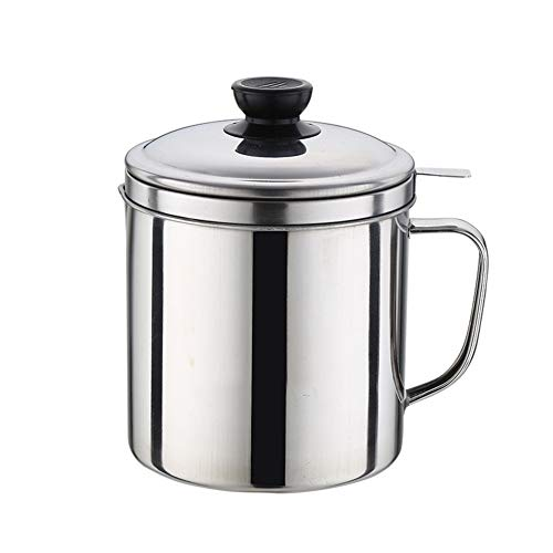 Stainless Steel Oil Storage Can Oil Strainer Pot with Fine Mesh Strainer Cooking Oil Fat Separator for Filter Residue 50 Oz/1.58 QT