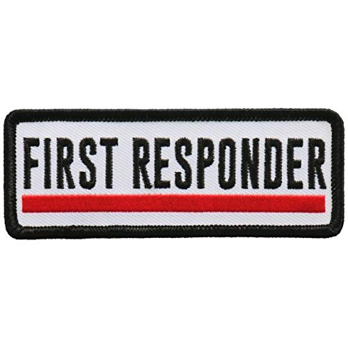 First Responder RED LINE - Iron On Patch, Licensed Original Artwork, 4' x 2'