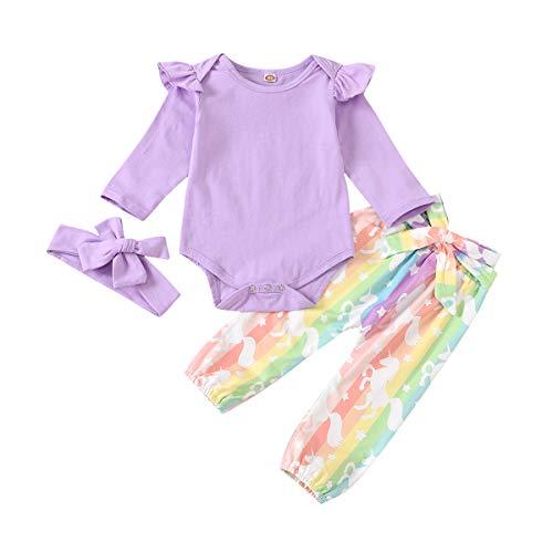 chicolife Baby Girl Fotoshooting Outfits Neugeborener Rüschen Strampler Print Einhornhose Langarm Einfarbig Weiß Bodysuit Jumpsuit Für Geschenk