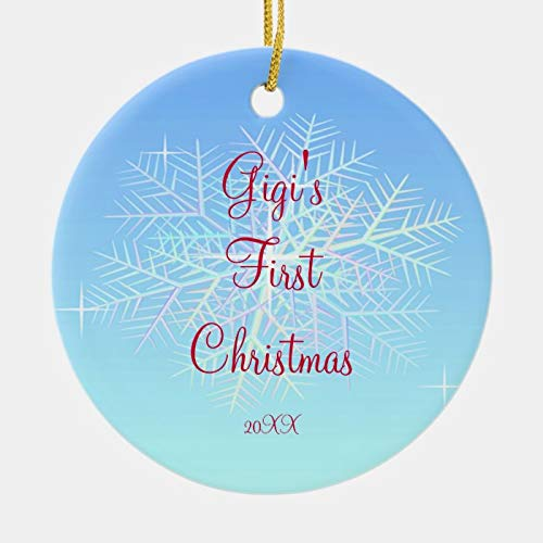 Personalized Gigi's First Christmas Snowflake Ornament 3 Ihch Ceramic Ornament
