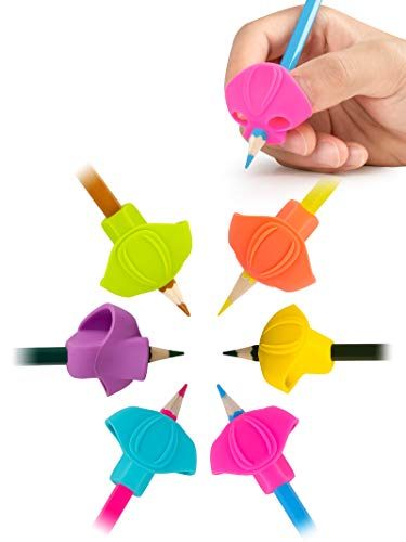 JARLINK 6PCS Pencil Grips for Kids Handwriting, Aid Grip Trainer Posture Correction Finger Grip for Kids, Adults, Arthritis Designed for Righties or Lefties