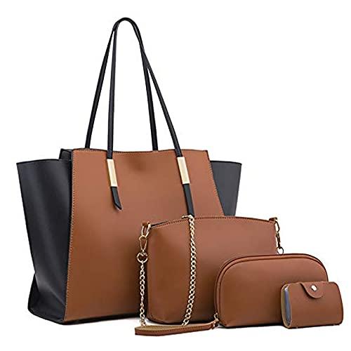 Bolsos de Mujer, Bolso Señora Tote Multicolor PU Cuero,Bolsa de cuero de PU de 4 piezas con para mujer