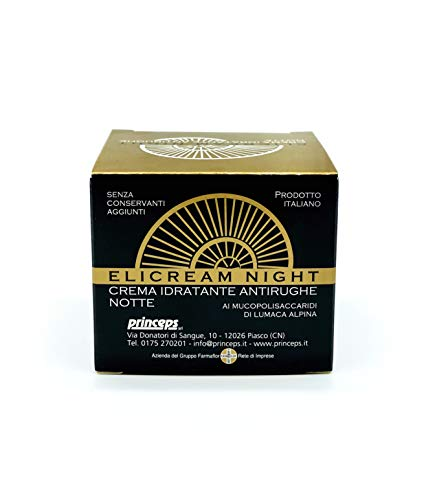 farmaflor Elicream Crema Idratante Antirughe Antiage Ridensificante Nutriente Notte con Bava di Lumaca Alpina Vitamina C A E Burro di Karitè Made in Italy - 50 ml
