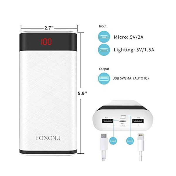 FOXONU 26800mAh Power Bank Cargador Portatil Movil, Bateria Portatil Para Movil, Ultra Capacidad Batería Externa, 2…