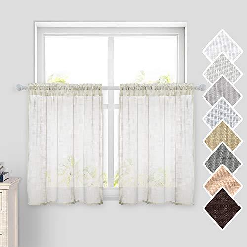 MIULEE Küchen-Vorhänge, halbtransparent, kurze Leinen-Optik, für Cafe/Badezimmer, kleine Fenster, 73,4 cm breit x 91,4 cm lang, elfenbeinfarben, 2 Stück