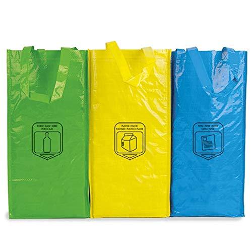 Natuiahan 3 Bolsas de Reciclaje Duraderas Robustas, Prácticas y Fáciles de Limpiar y Transportar.
