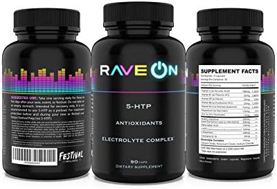 Rave On 90 caps 5 HTP Festival Rave Hangover Rave Pills Rave Supplement Antioxidants Electrolytes product image