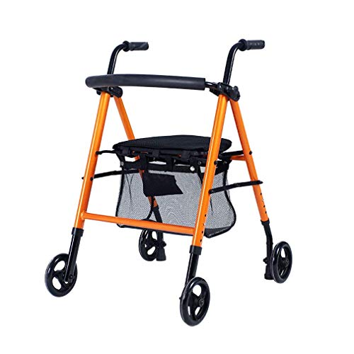 Foldable Elderly Rollator Walker with 4 Wheels and Seat Lockable Brakes Adjustable Height Wheelchair Transport Rest Chair for Geriatric Bariatrier with Limited Mobility
