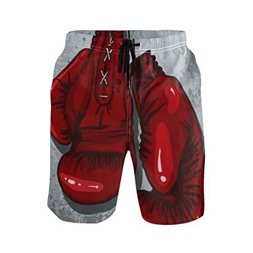 LISNIANY Badehose für Herren,Retro Boxhandschuhe Rot,Badeshorts für Männer Surfen Strandhose Schwimmhose(S)
