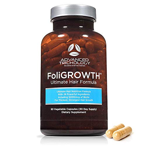 FoliGROWTH Ultimate Hair Nutraceutical – Get Thicker Hair, Reverse Diffuse Thinning Guaranteed - Gluten Free, Vegetarian, 3rd Party Tested - High Potency Biotin, Hair Loss Supplement, Hair and Nails