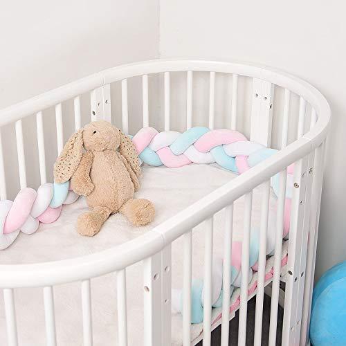 Cozywind 4m Protector para Cuna Bebé Trenzado Barandilla Cama Niño, Suave Cojín Infantil para Decoración, Foto Prop (rosa+blanco+azul, 2m)
