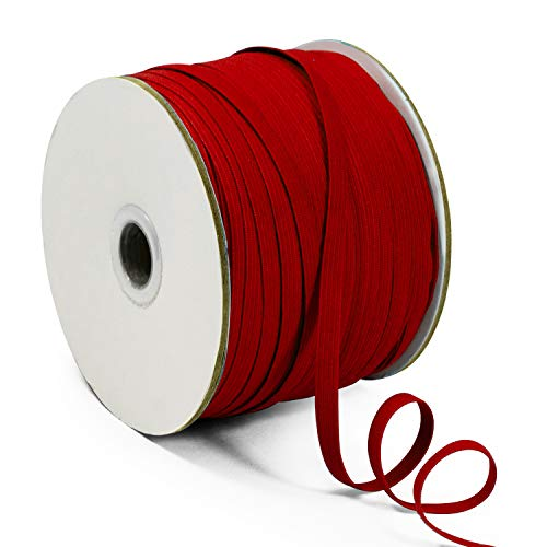 Expo International 1/4' Elastic Band - 100 Yard Spool Stretch Trim, Red