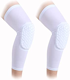 AceList 2 Pcs Sleeves Sports Knee Pads Compression Leg Sleeve for Basketball,  Volleyball,  Football,  Contact Sports and Gift for Daughter Son Boyfriend Girlfriend - Size S M L XL White & Black