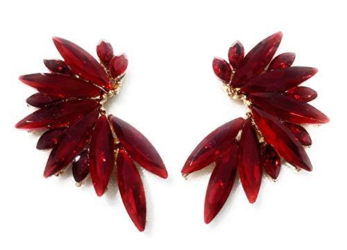 Pendientes cristales coloridos mujer alta bisutería fiesta, chapado oro rojo