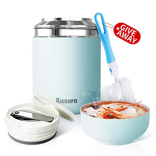 Insulated Lunch Container Kitsure 30 oz Thermos Food Jar, Leak Proof Vacuum Insulated Container for Hot Food, Stainless Steel Lunch Box for Kids & Adults with Folding Spoon, Maximizing Capacity Blue