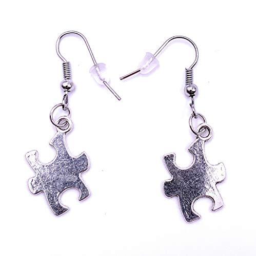 H-Customs Puzzle Puzzleteil Ohrringe Ohrschmuck Anhänger Silber Metall
