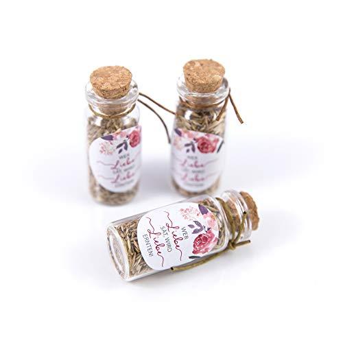 Schokoladenseite 40 Stück 20ml Mini Glasflaschen Fläschchen mit Korken Aufkleber Gast Flowerpower 175318 Geschenk Hochzeit
